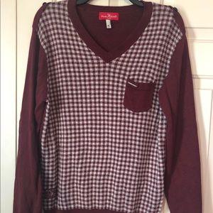 Marc Ecko Burgundy V-Neck Sweater